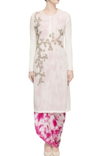 white-embroidered-fitted-kurta-set