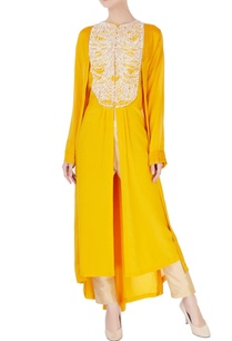 yellow-front-open-kurta