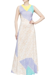 multicolored-sleeveless-flared-gown