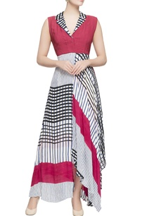 multicolored-stripe-pattern-dress