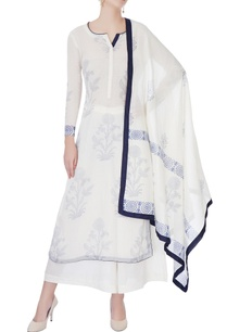 white-blue-floral-printed-kurta-set
