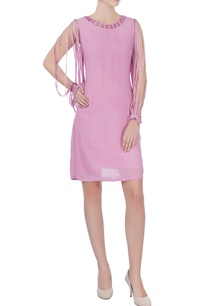 mauve-georgette-cutout-dress