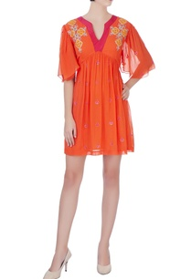 orange-crepe-embroidered-dress