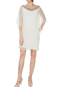 white-chiffon-dress-with-embellished-neckline