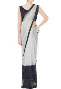 black-white-sari-with-beadwork-blouse