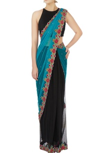 blue-black-floral-embroidered-sari-blouse