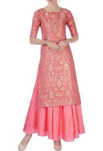 pink-brocade-style-kurta-set