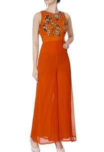 tangerine-orange-embellished-jumpsuit