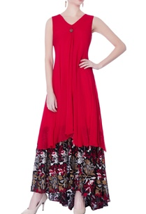 red-floral-printed-doube-layer-gown