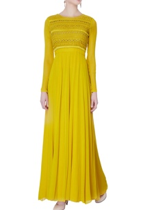 yellow-hand-embroidered-georgette-gown