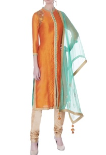 orange-chanderi-kurta-set