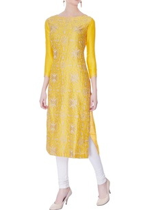 yellow-mughal-jaal-embroidered-kurta