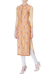 beige-orange-hand-embroidered-kurta