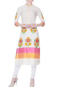 pink-orange-embroidered-kurta