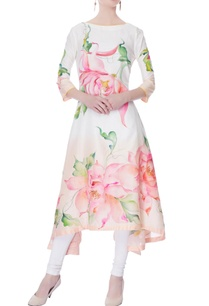 white-peach-hand-painted-floral-kurta