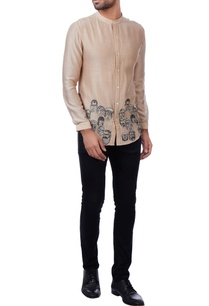 beige-faces-motif-chanderi-shirt