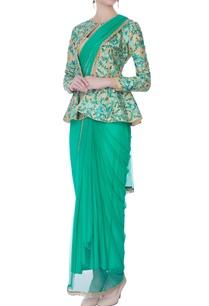 aqua-draped-sari-with-jacket-bustier