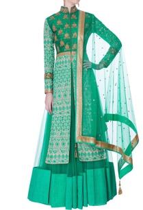 aqua-sherwani-jacket-with-lehenga-dupatta