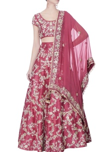 red-raw-silk-lehenga-set