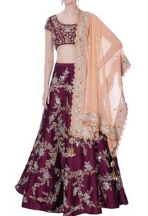 burgundy-raw-silk-lehenga-set