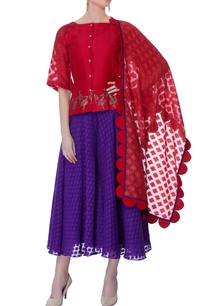 red-hand-painted-top-skirt-set