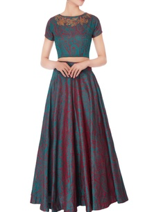 green-maroon-mango-butta-lehenga-set