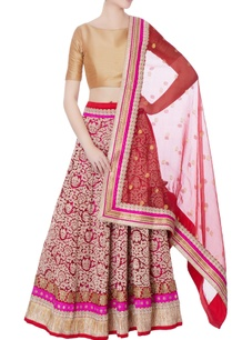 red-embroidered-lehenga-dupatta-blouse-piece