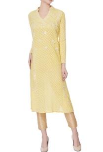 yellow-woven-machine-embroidered-kurta