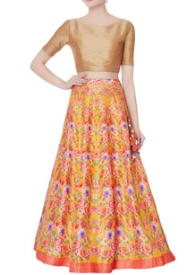 orange-floral-printed-lehenga