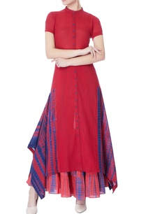maroon-blue-tie-dye-print-kurta