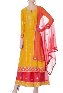 orange-silver-motif-kurta-set