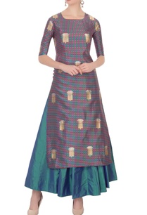 multicolored-check-printed-silk-kurta-with-skirt