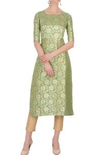 green-floral-brocade-woven-kurta