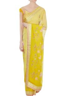 yellow-and-peach-chiffon-printed-sari-with-blouse