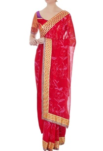 red-and-purple-chiffon-printed-sari-with-blouse
