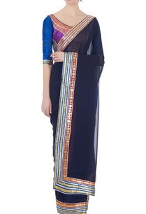 navy-blue-and-red-georgette-gota-sari-with-blouse
