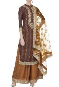 brown-printed-raw-silk-kurta-palazzo-set
