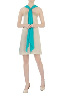 beige-turquoise-blue-halter-style-dress