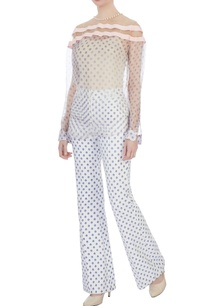 white-and-blue-neoprene-printed-trousers