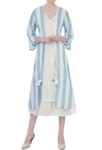 white-wrap-around-dress-with-blue-stripe-jacket