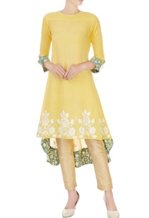 yellow-cotton-high-low-kurta