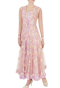 pink-floral-kurta-with-net-cape