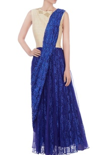 blue-floral-lace-sari-with-attached-raw-silk-blouse