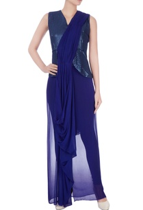 blue-sari-gown-with-attached-blouse