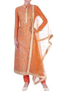 orange-chanderi-silk-dori-long-kurta-set