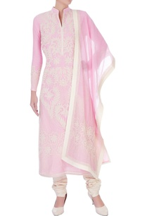 pink-chanderi-silk-dori-jaal-long-kurta-set