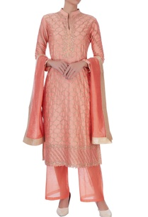 peach-chanderi-silk-zari-long-kurta-set