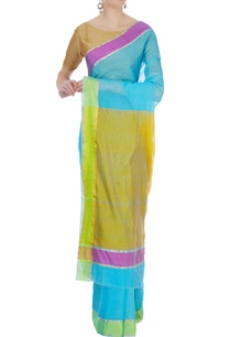 blue-chanderi-sari-with-unstitched-blouse