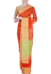 orange-sari-in-elephant-motifs-unstitched-blouse