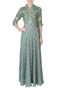 mehendi-blue-aztec-printed-shirt-dress